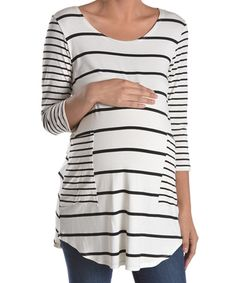 f72a3a53875 Love this Chris  amp  Carol White  amp  Black Patch-Pocket Maternity Tee by