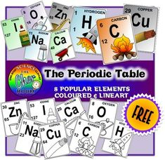 This is a snippet from my most popular product the Periodic Table. I have put together the 8 most commonly used element from the Periodic Table and sharing it with all of you! Each card has a chemical symbol, atomic number, atomic mass and a common illustration of the element.