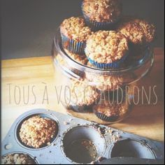 Tous à vos chaudrons: Muffins aux pommes Muffin Recipes, Apple Recipes, Brownie, Vinaigrette, Granola, Biscuits, Cereal, Deserts, Food And Drink