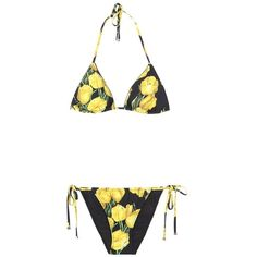 Dolce & Gabbana Printed Triangle Bikini (8 680 ZAR) ❤ liked on Polyvore featuring swimwear, bikinis, black, colorful bikini, colorful swimwear, dolce gabbana swimwear, triangle bikini swimwear and multi color bikini
