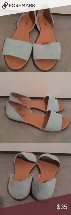 JCrew suede flat slip-ons Adorable mint green suede slip on shoes. Size 7. J. Crew Shoes Flats & Loafers
