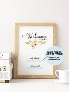 Wifi Password Sign for your guest room, wedding reception, cafe or bed and breakfast. The poster is editable, so you can fill in your own wifi network and password and simply print it at home. You can also leave it blank to handwrite your info. Printable Planner, Printable Wall Art, Printables, Wifi Password Printable, Budget Friendly Honeymoons, Wedding Signs, Wedding Reception, Guest Room Decor, Wedding Congratulations