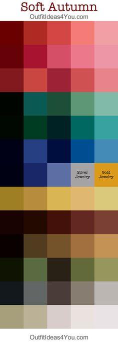 soft autumn color palette Conhecer a paleta de cores que corresponder à nossa tez é meio caminho andado para escolher roupa que fica bem! :)