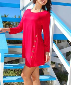Another great find on #zulily! Red Button-Accent Tunic by La Moda Clothing #zulilyfinds