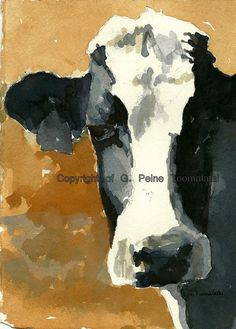 Cow painting Cow art Cow watercolor Holstein cow by GWENSART, $27.00