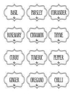 Free Printable Kitchen Spice Labels - The Graffical Muse