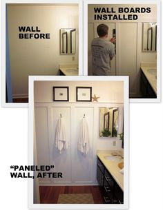 "For Master Bath - To add a little interest to the plain walls, add some 1"" by 4"" boards to one wall. Adds a little architecture to the room...a coastal cottage feel, no? :) Just glue and nail gun the boards on the wall (easy), then paint everything (possibly a cool white, like Dunn Edwards, Swiss Coffee) to expand, lighten, and freshen-up a small, windowless space."