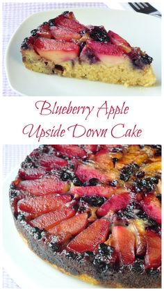 Blueberry Apple Upside Down Cake - With a prep time of only about 15 minutes excluding baking time