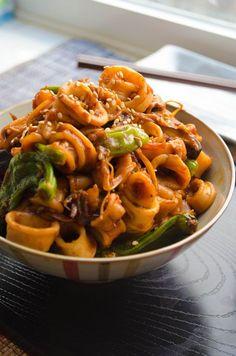 OJINGEO BULGOGI ~~~ ojingeo bulgogi is a dish of grilled spicy squid. recipe gateway: this post's link + the above image can be found at http://www.heartmindandseoul.com/korean-squid-bulgogi/ [Korea] [cookingwithmamalim]