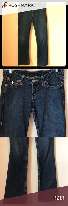 "True Religion Sz28 Style WLH564J29 Jeans👖✌️ True Religion jeans Sz28 •29.25""Inseam • 16.5""Hips• Straight Leg. Like the COH jeans 4sale, these are slightly worn in rear and thighs. Just lost weight + can no longer wear. Any ?, let me know! True Religion Jeans Boot Cut"