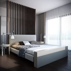 Enchanting bedroom with delicate white curtains : Elegant Bedroom For Man With Modern Platform Bed With White Mattress Black White And Gray Pillows Bedside Tables Table Lamps And Glass Sliding Door With Thin White Curtains Contemporary Bedroom Furniture, Modern Master Bedroom, Modern Bedroom Furniture, Minimalist Bedroom, Calm Bedroom, Modern Bedrooms, Furniture Ideas, Simple Bedroom Design, Bedroom Design Inspiration