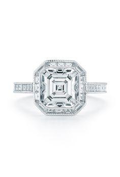 Brides.com: . Asscher-cut diamond engagement ring in platinum, price upon request, Kwiat