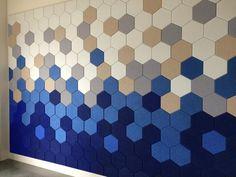 Tile Art, Wall Tiles, Ceiling Design, Wall Design, Acoustic Wall, Diy Acoustic Panels, Hexagon Tiles, Hexagon Quilt, Felt Material