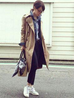 ari☆|HYKEのトレンチコートを使ったコーディネート - WEAR Japan Fashion, Fashion 2017, Love Fashion, Korean Fashion, Winter Fashion, Womens Fashion, Fashion Trends, Trent Coat, Fashion Pants