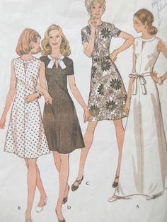 Vintage McCall's 3608 Sewing Pattern, 1970s Dress Pattern, A Line Dress, Bust 34, 1970s Sewing Pattern, Sleeve Variations, Two Lengths by sewbettyanddot on Etsy