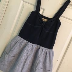 "❗️ DONATING 5/21 ❗️ Blue Striped Pocket Sun Dress Pocketed sun dress. One small spot at the bottom of the dress. 100% cotton lining. Bust measures 13"" armpit to armpit,  23"" armpit to hem, and 32"" shoulder to hem. Hollister Dresses Mini"