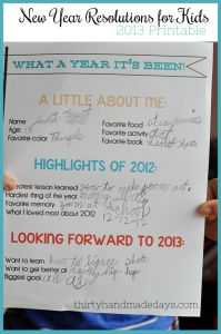 Hard to believe that it's been a year since I shared my kids New Year Resolutions printable.   Sadly my daughter didn't learn a lot of German or how to make furniture.  Poor girl! But we've still managed to fill 2012 with memories and lessons we will bring into 2013.  I finally created an updated
