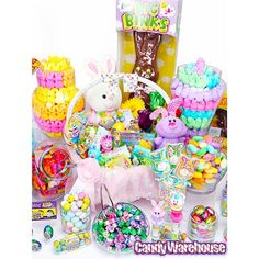 Why settle for a mere Easter basket when you can create an entire Easter buffet? Adorned in perfect pastel hues and filled with eggs, flowers, chicks, and more, this display is sure to tingle the taste buds of Easter bunnies and humans alike!