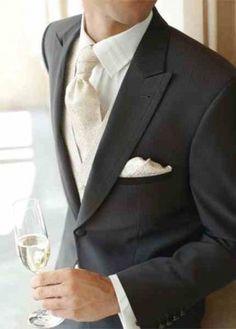 White shirt, Cream waistcoat, tie and handkerchief against Charcoal, love!