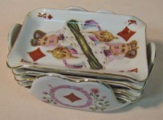 1940s Nippon Playing Cards Ashtray Set 5 Pieces Numbered 6831 Colorful | eBay