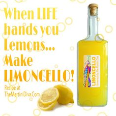 When life hands you lemons ...  #HISTORY of and #RECIPE for #LIMONCELLO aka LEMONCELLO:  http://themartinidiva.blogspot.com/2015/08/history-of-and-recipe-for-limoncello.html