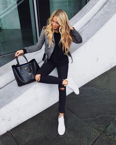 Gray Leather jacket, Black column, sneakers, Black bag - Casual Outfit