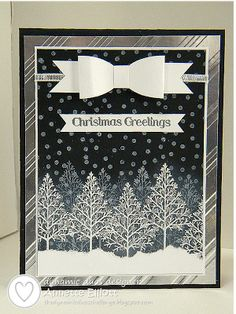 handmade Christmase card from AEstamps a Latte...: Dynamic Duos # 79: Black Tie Week ... shades of gray ... paper bowe ...  twiggy trees images ... luv it! ... Stampin' Up!