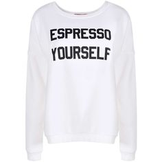 Boohoo Maisie Espresso Yourself Slogan Sweatshirt featuring polyvore, fashion, clothing, tops, hoodies, sweatshirts, sweat tops, sweatshirts hoodies, sweat shirts, purple top and purple sweatshirt