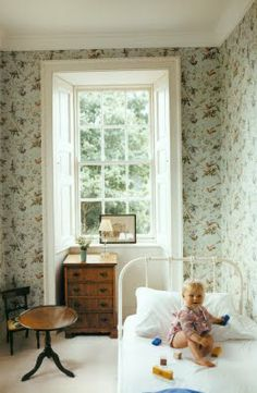 Beautiful everything.  Lovely child's room.  Lovely anyone's room!  BandF wallpaper?