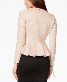 Thalia Sodi Zippered Peplum Faux-Leather Jacket, Only at Macy's - Jackets & Blazers - Women - Macy's