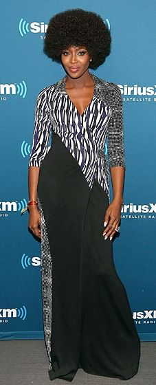Naomi Campbell looks '70s chic in a printed maxi dress by Diane von Furstenberg at a Q&A session for SiriusXM