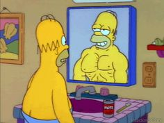homer simpson the simpsons mirror muscles