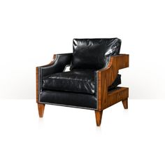 THEODORE ALEXANDER - A Contemporary upholstered club chair with rosewood veneered sides, the cushion back and seat between open padded arms wrapping around the T back, on square tapering legs.