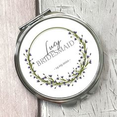 Personalised floral circle compact mirror wedding personalised gift for the bridesmaid Hen Party Gifts, Purple Rings, Flower Circle, Compact Mirror, Personalized Wedding Gifts, Bride Gifts, Maid Of Honor, Purple Flowers, Mother Of The Bride