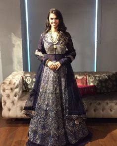 #VidehasSiya #jadebridalcouture #2016-2017 #sneakpeak Anita looking uber chic in Jade's royal blue zardosi gilded gown from our latest bridal collection, Videha's Siya Jewellery Courtesy : @anmoljewellers #launchingAugust10th #jadecouture #monicakarishma #bridalcouture #bridal #wedding #brides #bridesmaid
