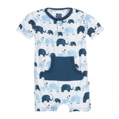 Print Kangaroo Romper in Boy Bubble Elephant