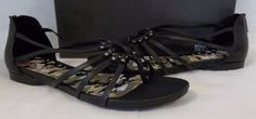 Kenneth Cole Reaction Size 8  Black  Flats Sandals  New Womens Shoes #KennethColeReaction #StrappySandals