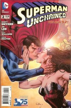 Superman Unchained No.2 75th Anniv New 52 VAR 2013 *DC Comics*  Kissy face w/ Diana! Available From West Point Toy & Hobby on Amazon #superman #WonderWoman