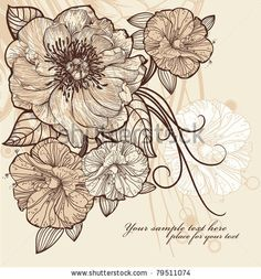 Vintage floral illustration of blooming flowers by Anna Paff
