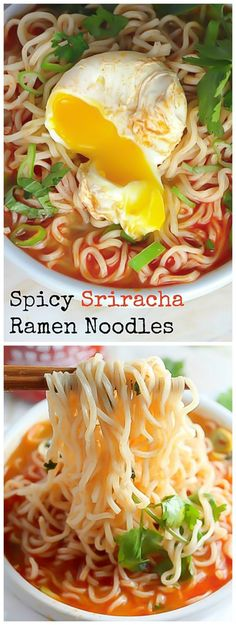 Spicy Sriracha Ramen Noodle Soup (Video) A spicy ramen noodle soup spiked with sriracha hot sauce and ready in just 20 minutes! - Spicy Sriracha Ramen Noodle Soup - seriously SO delicious! Spicy Ramen Noodles, Ramen Noodle Soup, Shirataki Noodles, Ramen Noodle With Egg, Sesame Noodles, Rice Noodles, Zuchinni Noodles, Buckwheat Noodles, Vermicelli Noodles