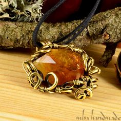 CITRINE CRYSTAL POINT NECKLACE ANTIQUED BRASS ARTISAN WIRE WRAPPED GEMSTONE #MbaHandmade #Wrap