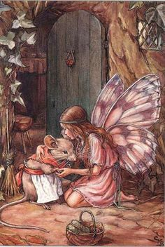 Cicely Mary Barker - Fairy and Mouse. Illustration to the poem 'A Fairy Goes A-Marketing' from 'A Little Book of Rhymes New and Old'. Fairy Dust, Fairy Land, Fairy Tales, Cicely Mary Barker, Art And Illustration, Food Illustrations, Antique Illustration, Botanical Illustration, Elfen Fantasy