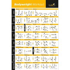 """Bodyweight Exercise Poster - Total Body Workout - Personal Trainer Fitness Program for Women - Home Gym Poster - Tones Core, Abs, Legs, Gluts & Upper Body - Improves Training Routine - 20""""x30"""""""