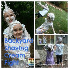 Pink and Green Mama: End of Summer Celebration: Backyard Shaving Cream Fight Fun!