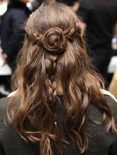 half-up half-down messy boho wedding hairstyle
