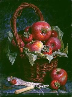Daniel Brient. A Basket of Apples on a Dark Marble Background