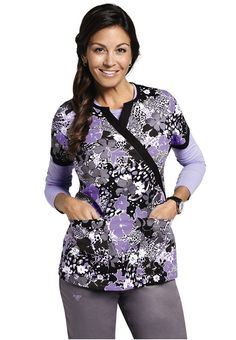 Med Couture Peak My Interest mock-wrap print scrub top. - Scrubs and Beyond #scrubs #uniforms #nurse