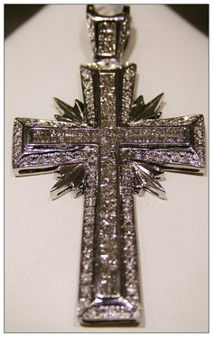 Mens Diamond And White Gold Cross Pendant #Religious #Bling #Diamonds #Whitegold #Jewelry