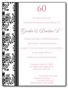 Elegant Gray Diamond 60th Anniversary Invitation | 60th Wedding ...