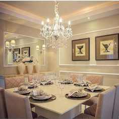 LED chandeliers brings everything together neatly at the dinner table. Classy Living Room, Dinner Room, Dinner Table, Futuristic Furniture, Interior Decorating, Interior Design, Home Suites, Dining Room Inspiration, Dining Room Lighting